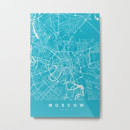Moscow Map Russia | Blue & Cyan | More Colors, Review My Collections Metal Print