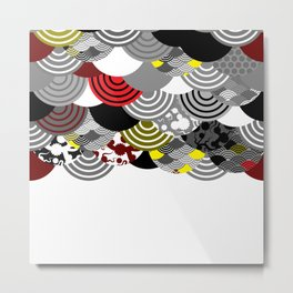 Nature background with japanese sakura flower, Cherry, wave circle Black gray white Red Yellow color Metal Print