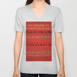 African American Masterpiece Alma Thomas, Red Sunset, Old Pond Concerto Unisex V-Neck