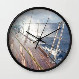 sailing in rough seas- nautical photography- ocean Wall Clock