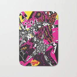Abstract in callage bright colors and layers of patterns Bath Mat
