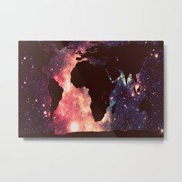 World Map : Mauve Teal Galaxy Stars Metal Print