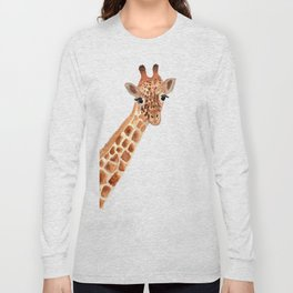 Watercolor Giraffe Long Sleeve T-shirt