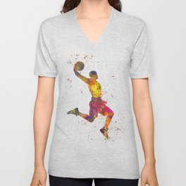Basketball player 02 in watercolor Unisex V-Neck