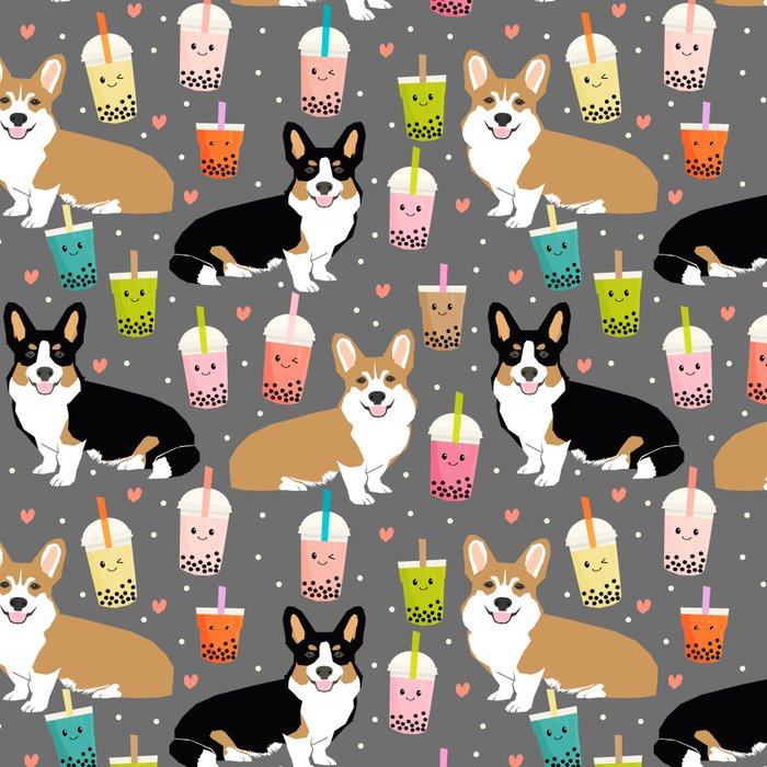 Corgi boba tea bubble tea kawaii food welsh corgis dog breed gifts Leggings