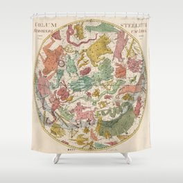 Libra Antique Astrology Zodiac Pictorial Map Shower Curtain