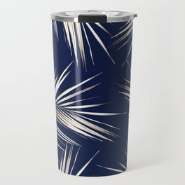 White Gold Palm Leaves on Navy Blue Travel Mug
