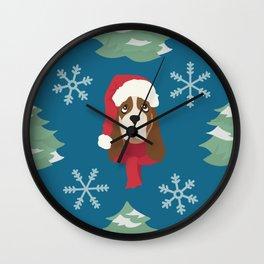 Basset Hound Christmas Dog Wall Clock