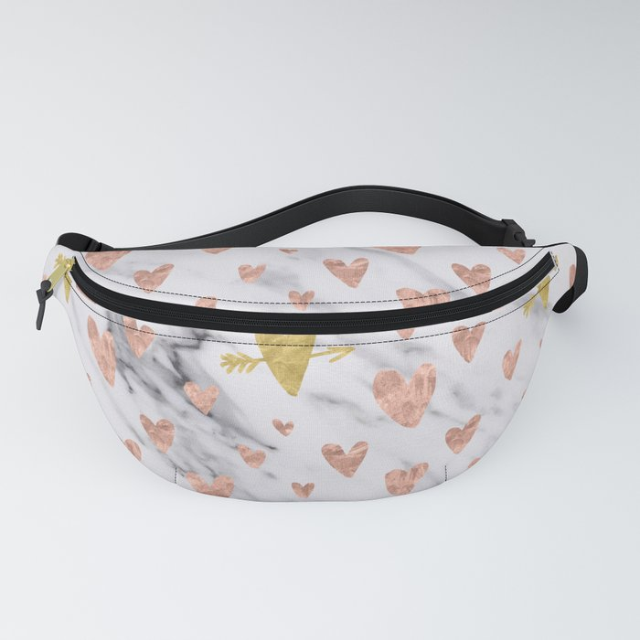 Rose Gold Hearts Marble Pattern Fanny Pack