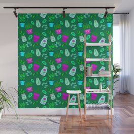 Cute lovely little house plants in glass jars, potted flowers and green leaves eco pattern Wall Mural
