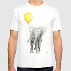 Elephant Watercolor Yellow Balloon Whimsical Baby Animals Mens Fitted Tee White MEDIUM
