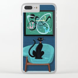 Creature Comforts Mid-Century Interior With Black Cat Clear iPhone Case
