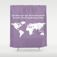 dr seuss Shower Curtains featuring World Map with Dr. Seuss Quote by Dustin Hall