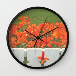 White Picket Fence / Daylilies / Flowers Wall Clock