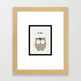 Cute hand drawn owl design Framed Art Print