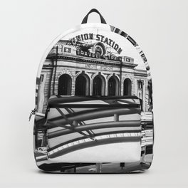 Union Station // Train Travel Downtown Denver Colorado Black and White City Photography Backpack