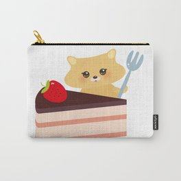 cute kawaii hamster with fork, Sweet cake decorated with fresh Strawberry, pink cream and chocolate Carry-All Pouch