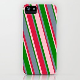 Green, Light Slate Gray, Crimson, and Pink Colored Stripes Pattern iPhone Case
