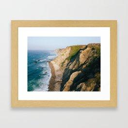 Morning light over Mohegan Bluffs Framed Art Print