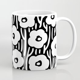 Mid Century Modern Wild Flowers Black and White 681 Coffee Mug
