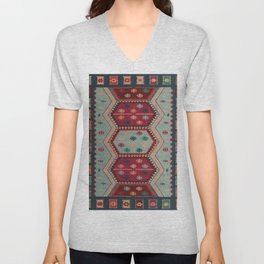 V31 Traditional Colored Moroccan Carpet. Unisex V-Neck