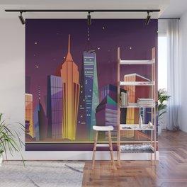 Gotham City at Night - Kitschy Cartoon New York City Manhattan Wall Mural
