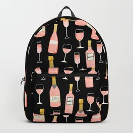 Rose champagne wine food fight apparel and gifts black Backpack