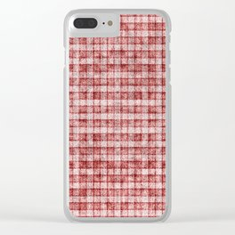 Dusty Pink Gingham Plaid Faux Suede Clear iPhone Case