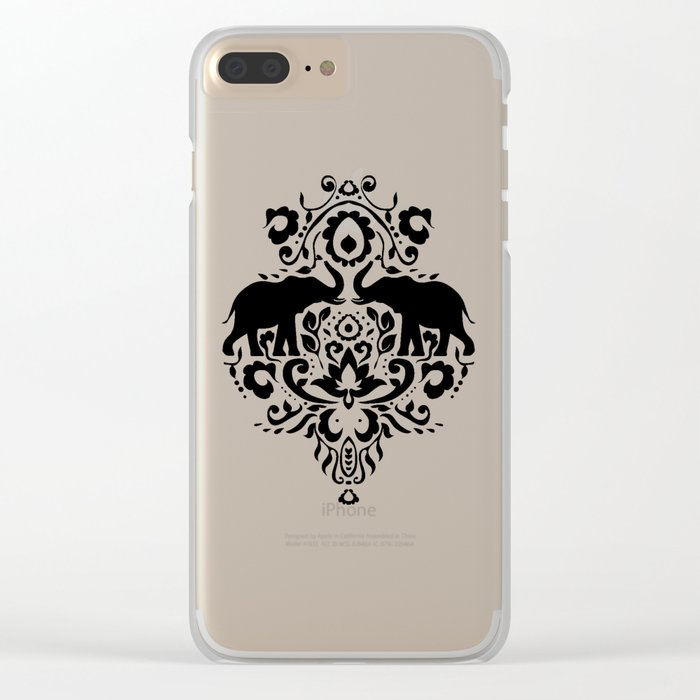 Elephant Damask Black and White Clear iPhone Case