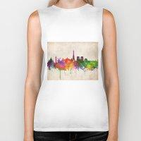 skyline Biker Tanks featuring Paris skyline  by Bekim ART