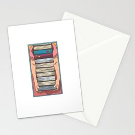 Book pile long arms Stationery Cards