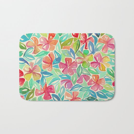 Tropical Floral Watercolor Painting Bath Mat