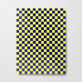 Electric Yellow and Navy Blue Checkerboard Metal Print