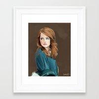 emma stone Framed Art Prints featuring Emma Stone by Artsy Rosebud