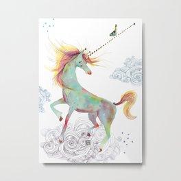Unicorn + Bird Metal Print