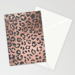 Modern charcoal grey rose gold leopard pattern Stationery Cards