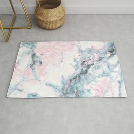 Blue and Pink Marble Rug