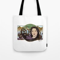 regina mills Tote Bags featuring regina nouveau by raynall