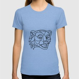Grizzly Bear Head Mosaic Black and White T-shirt