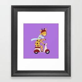 Giraffe on Motor Scooter Framed Art Print
