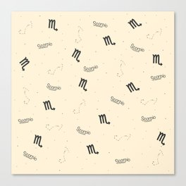 Scorpio Pattern - Beige Canvas Print