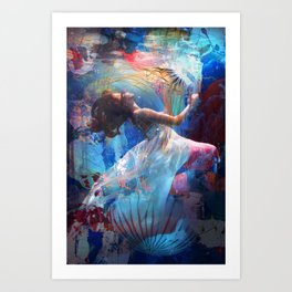 Underwaterworld - woman with long white dress underwater along with jellyfish Art Print