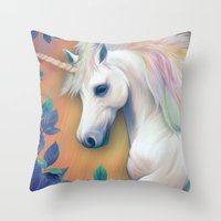 unicorn Throw Pillows featuring Unicorn by ShannonPosedenti