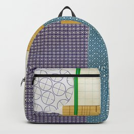 blue school graphic collage Backpack