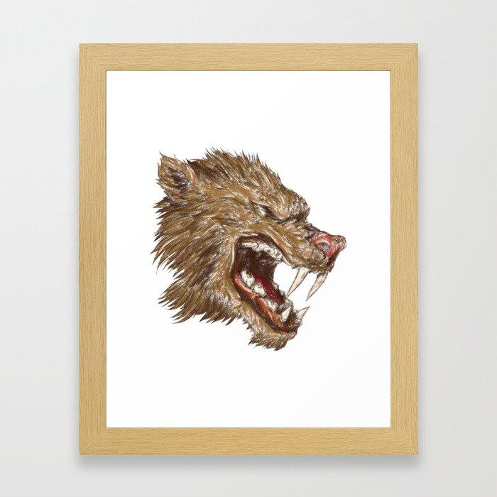 Head with sharp teeth Framed Art Print