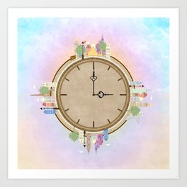 Time goes around Earth , or Earth goes around Time. Art Print