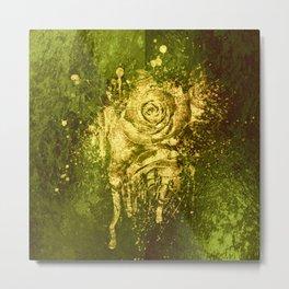 golden rose on green Metal Print