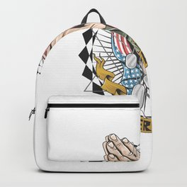 Hands With American Flag Are Praying Artwork Veterans Memorial Day Independence Day Design Backpack