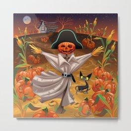Pumpkin Scarecrow Metal Print