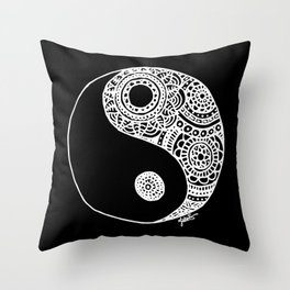 Black and White Lace Yin Yang Throw Pillow